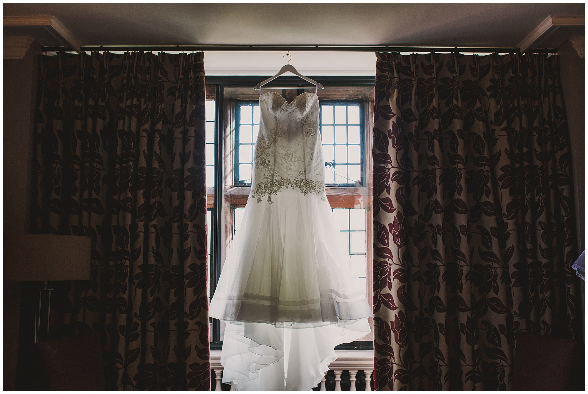 hanging the wedding gown